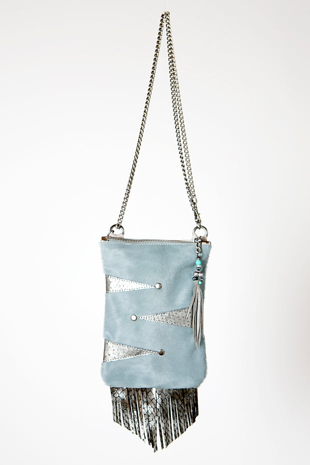 Handmade Leather Clubbing Bag Mobile Phone Handbag in Sky Blue and Metallic Grey with Fringe Detail