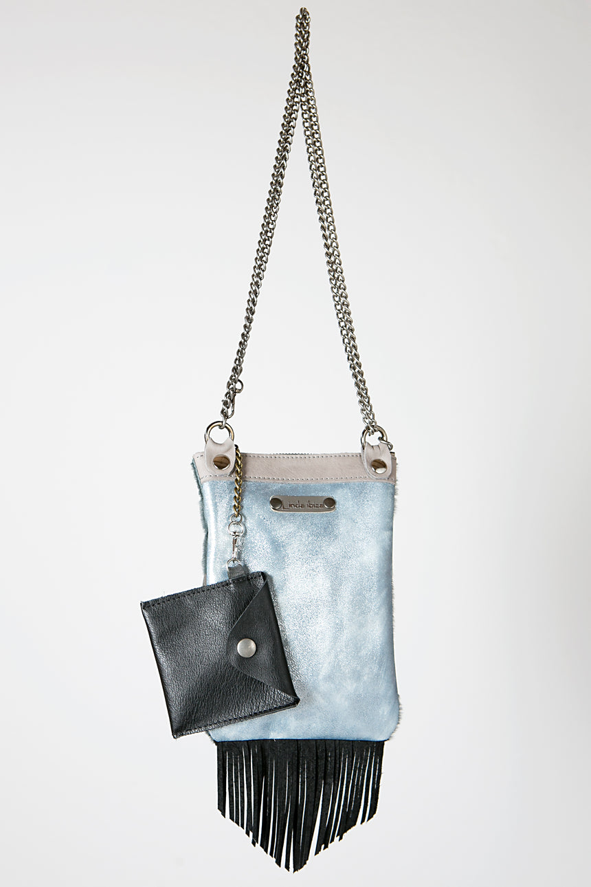 Handmade Leather Party Handbag in Sky Blue and Metallic Grey with Fringe Detail