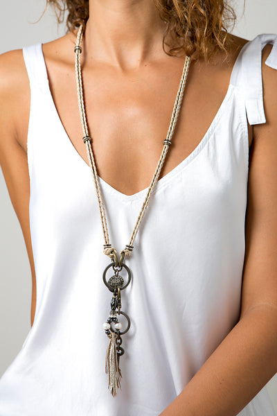leather necklace with fringe and coins