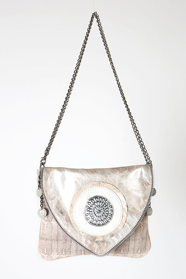 The Classic Metallic Beige Leather Handbag