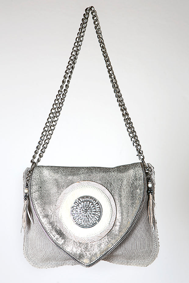 Handmade Leather Metallic Grey Crossbody or Shoulder Bag