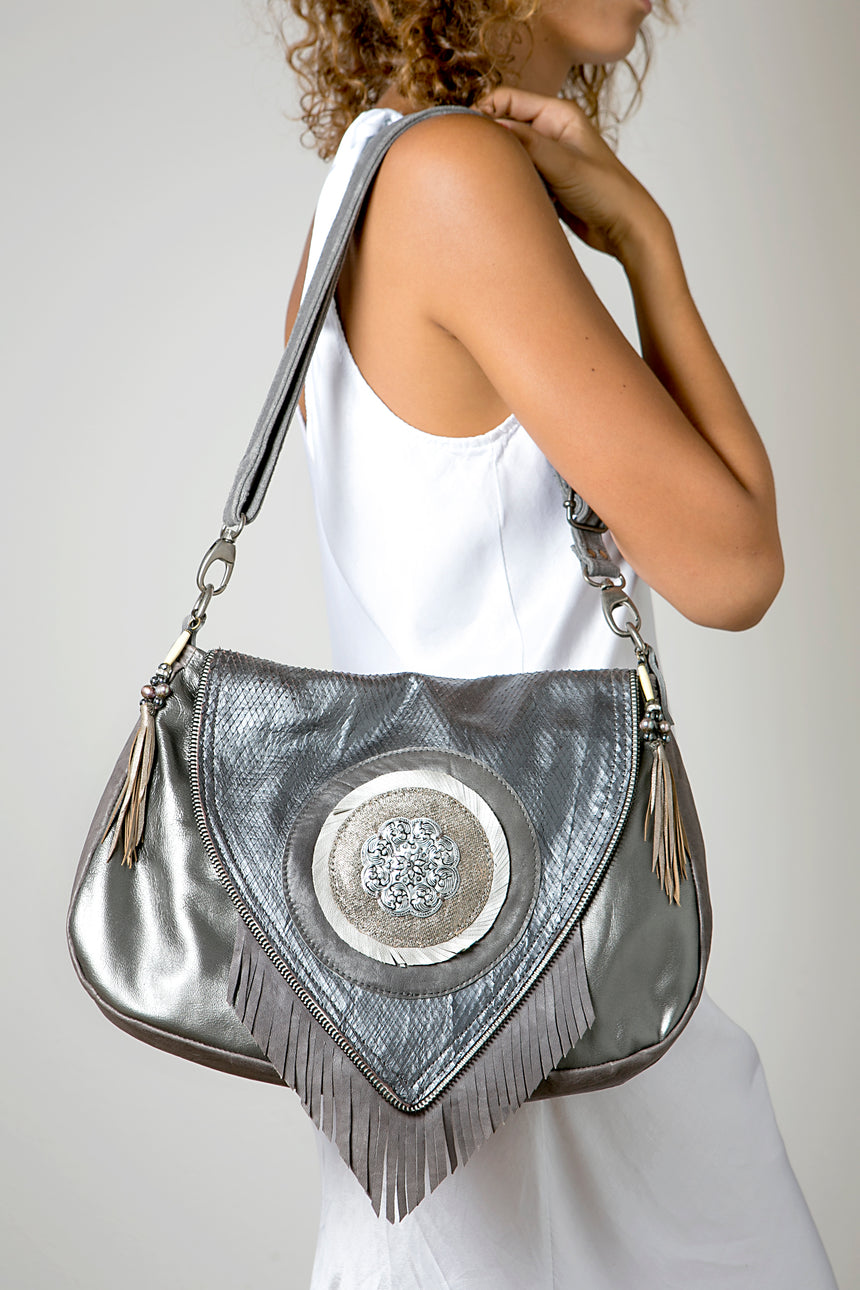The Metallic Grey Fringe Purse