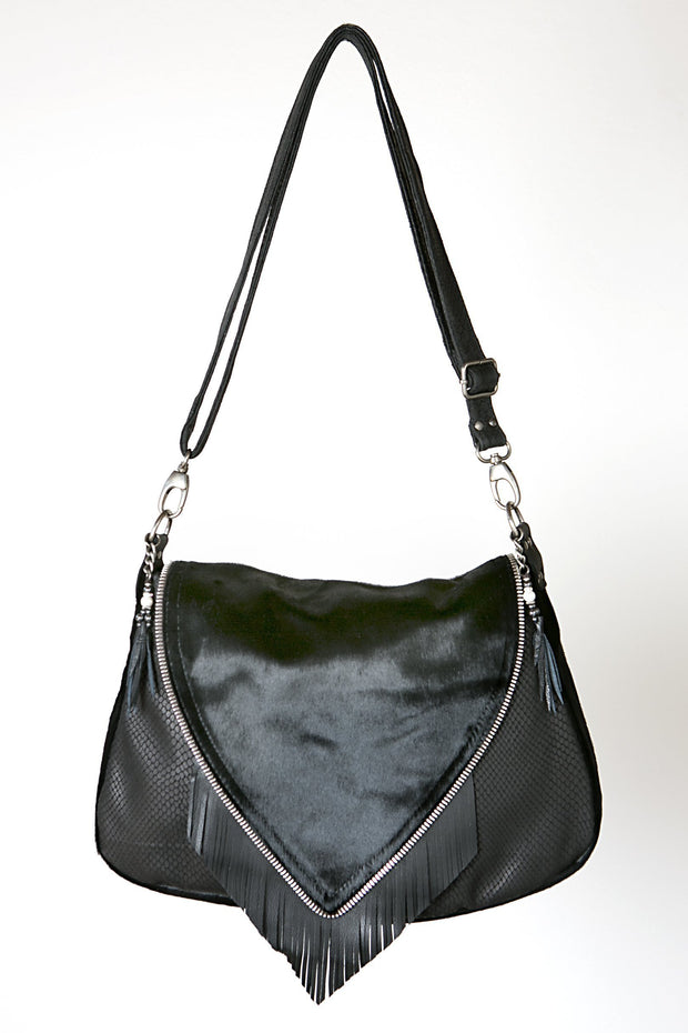 Big Nicole Bag I - one of our signature black leather handmade handbags.  Bohemian style leather handbag.