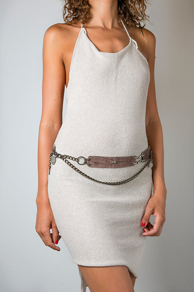 Handmade Leather Reversible Belt in Brown or Grey with Chain