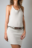 Handmade Leather Reversible Belt in Brown or Metallic Grey with Metal Chain - Adjustable