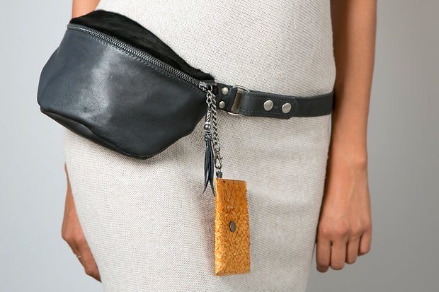 Handmade Leather Bum Bag with Back Zip Pocket and Small Purse