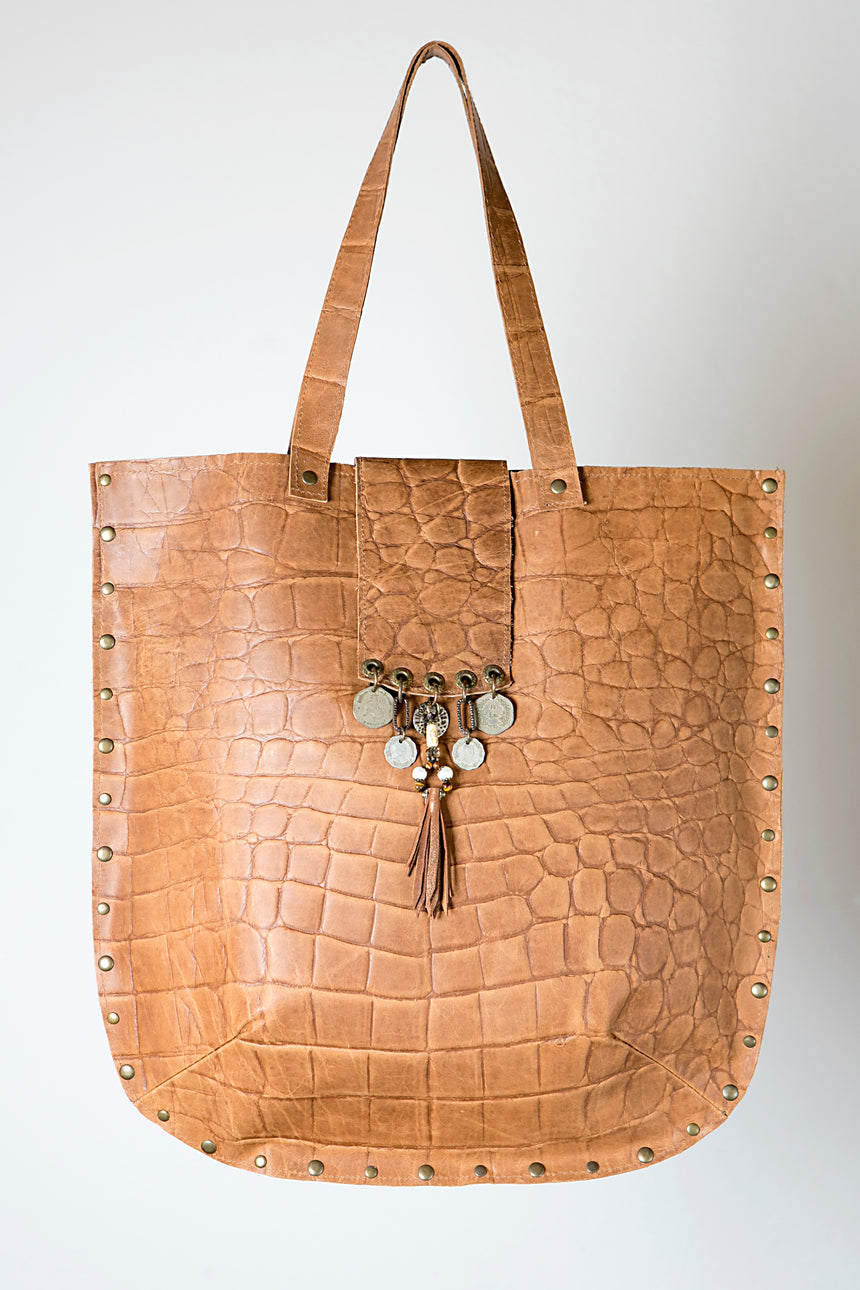 Handmade Leather Shopper Style Handbag in Beige