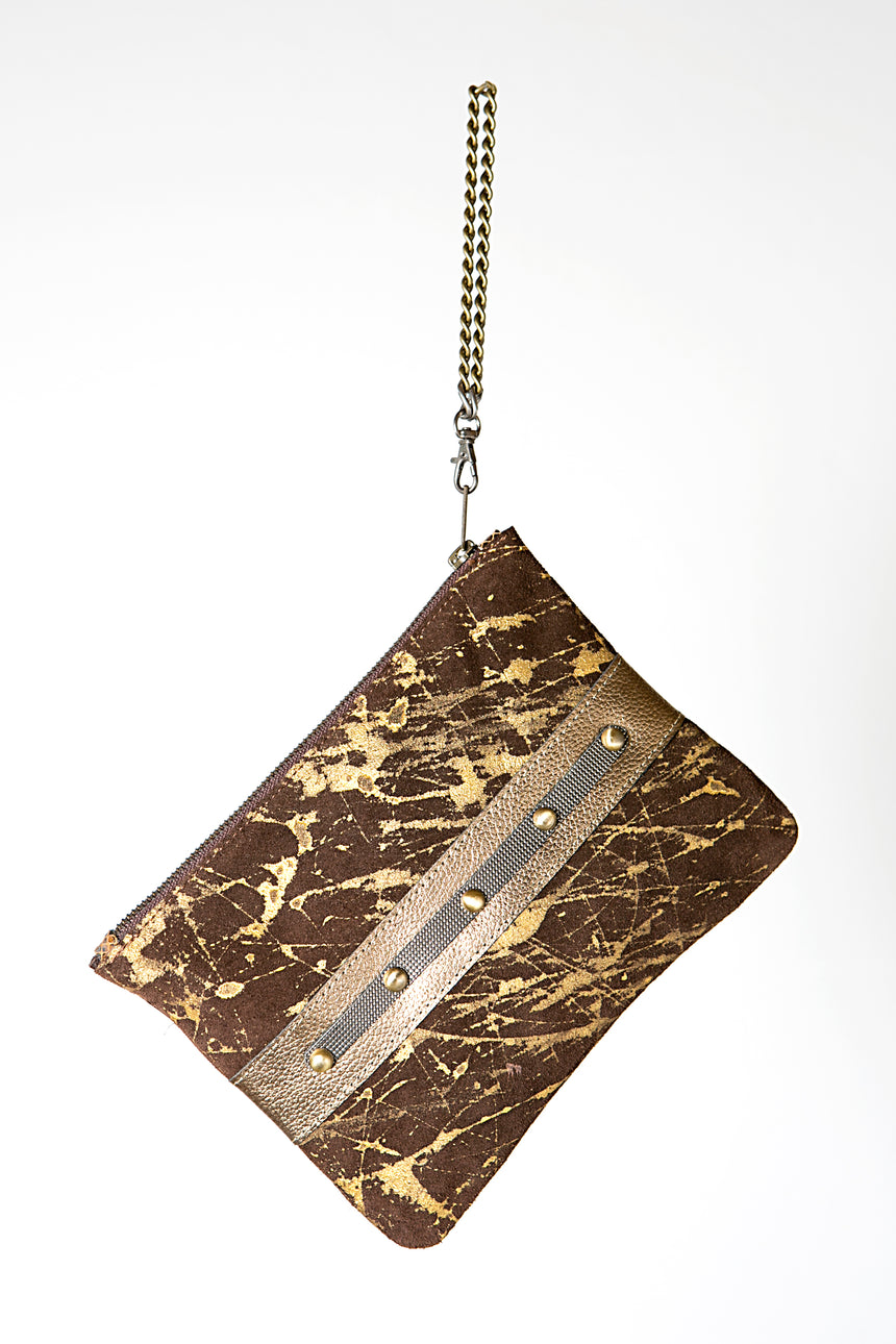 Handmade Leather Clutch Bag in Gold on Brown with Studded Detail and Metal Chain