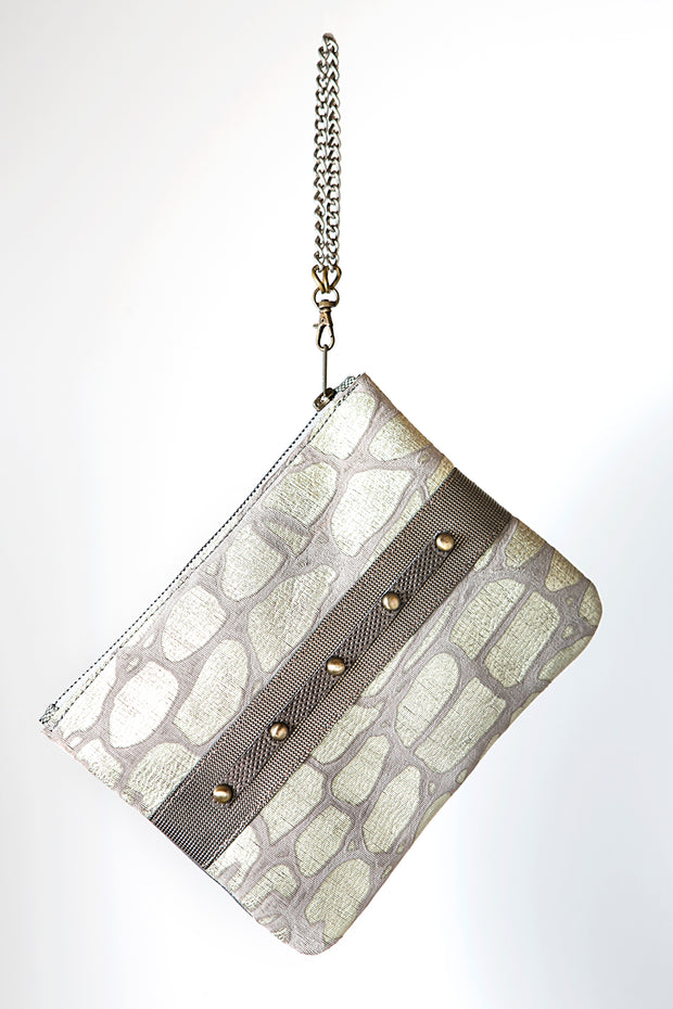 Handmade Leather Grey and White Animal Print Clutch Bag