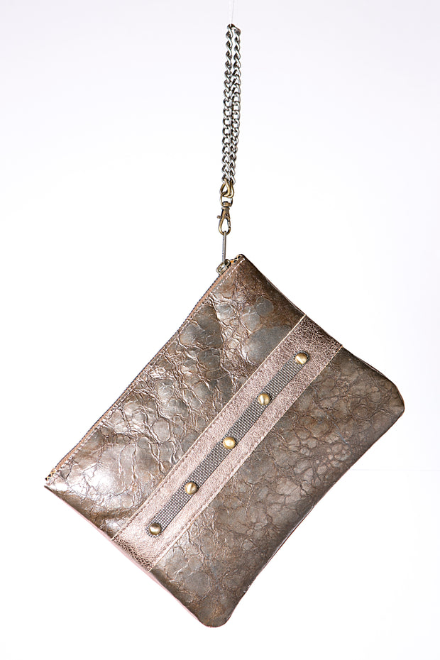 Handmade Leather Metallic Brown Clutch Bag with Chain Strap