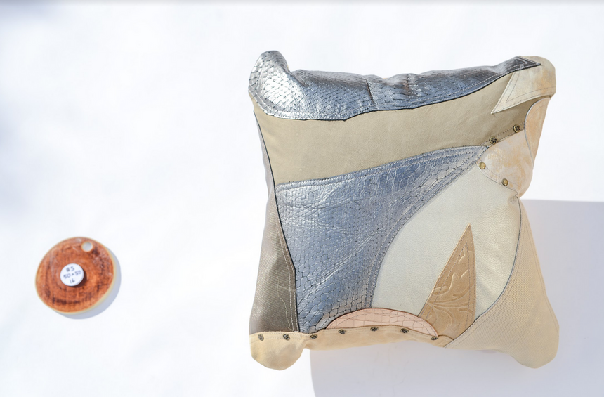Metallic beige, silver and cream handmade leather pillow Linda Ibiza