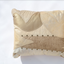 Metallic beige and cream handmade leather pillow Linda Ibzia
