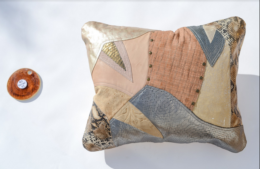 Metallic beige, cream and silver handmade leather pillow with snakeskin accents Linda Ibiza
