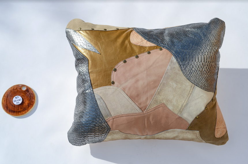 Metallic beige, cream, gold and silver handmade leather pillow Linda Ibiza