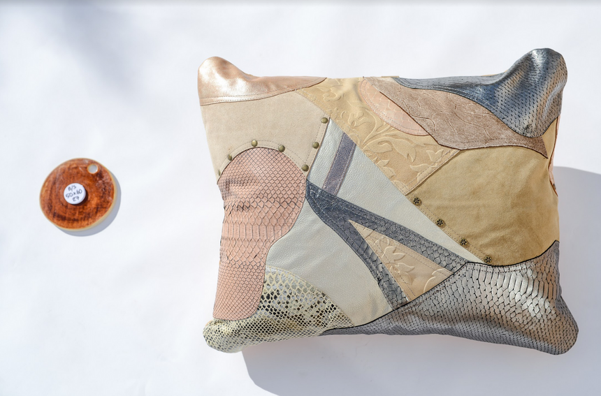 Metallic beige, cream, silver and snakeskin handmade leather pillow Linda Ibiza