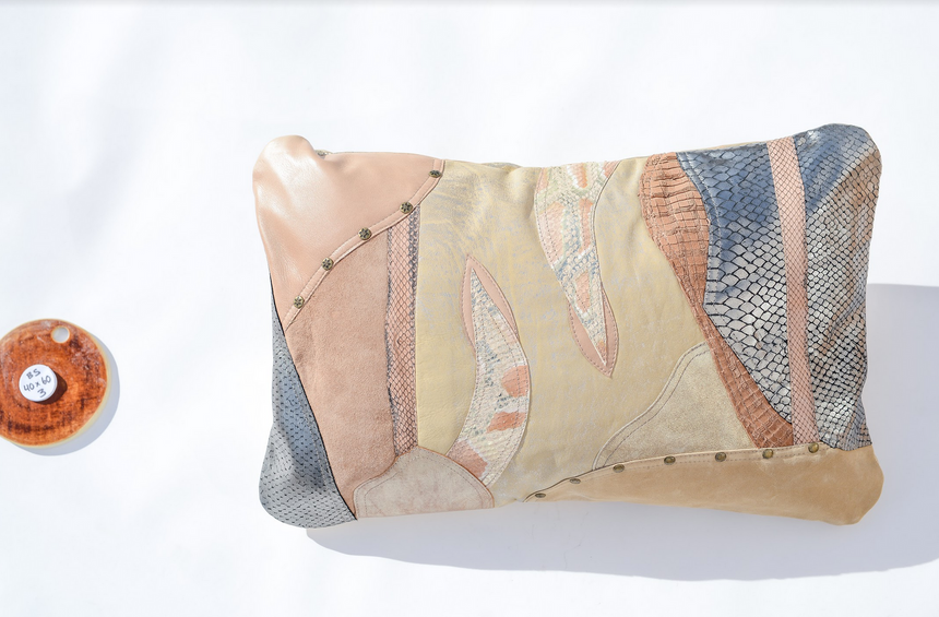 Metallic beige, cream and silver handmade leather pillow Linda Ibiza