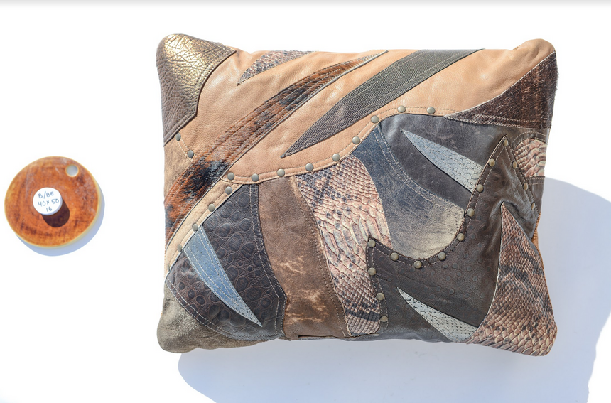 Metallic brown leather pillow with earth tones in patchwork design - style 16, 40 x 50 cm