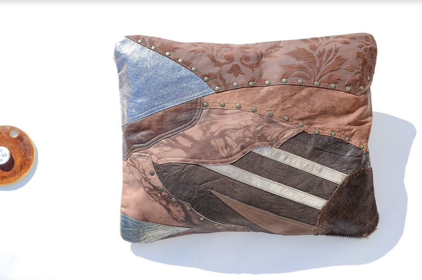 Metallic brown leather pillow