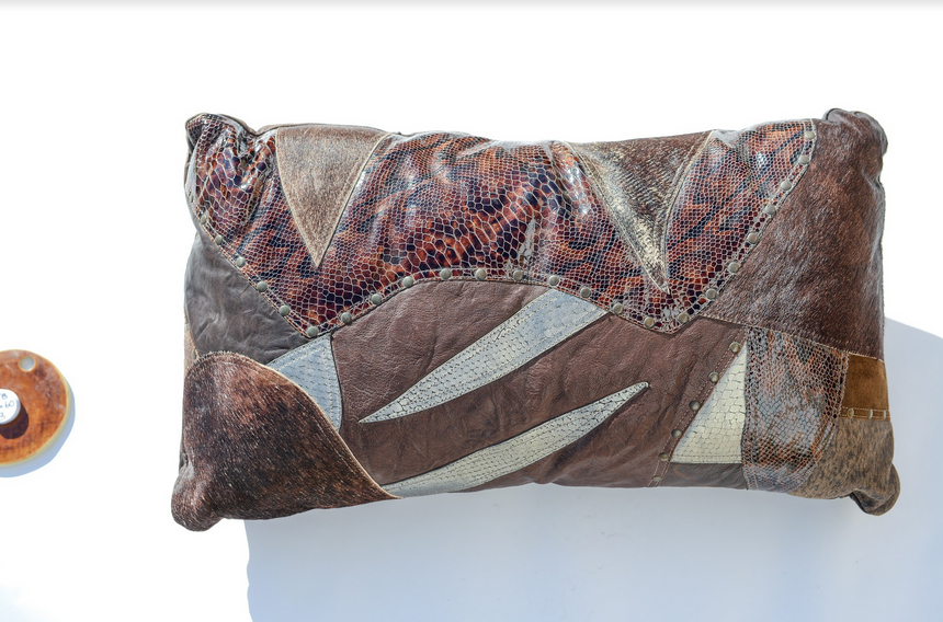 Metallic brown leather pillow Linda Ibiza