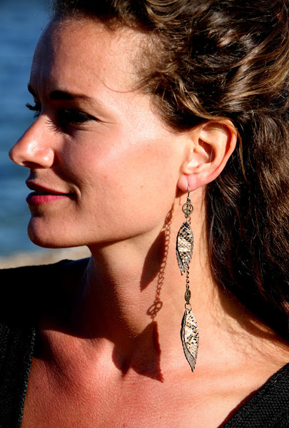 Double Feather Drop Earrings - Handmade Leather in Earth Tones