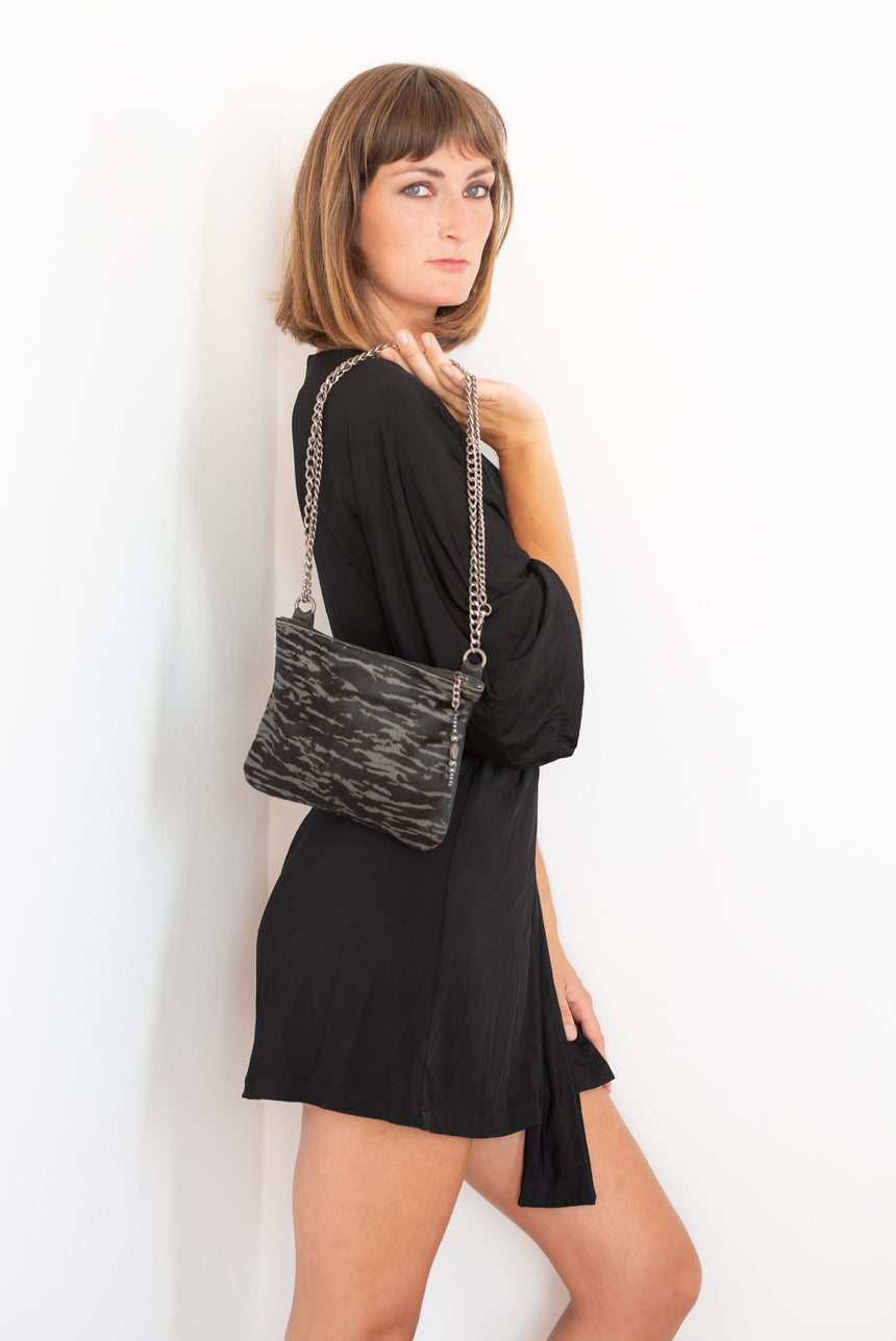 Black and grey leather hide and hair crossbody bag