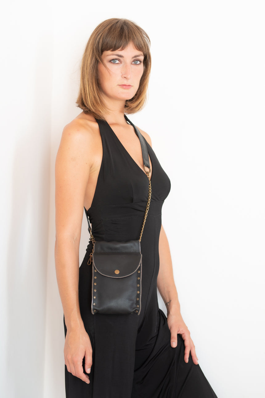Handmade Leather Hide and Hair Black Bum Bag with Back Zip Pocket and Small Purse
