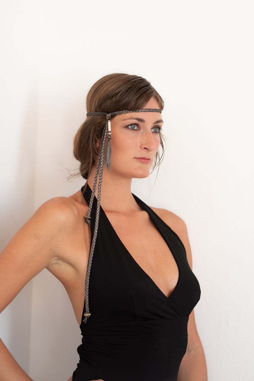 Handmade grey braided leather necklace, headband or belt Linda Ibiza