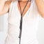 Black leather multi-functional necklace, headband or belt Linda Ibiza