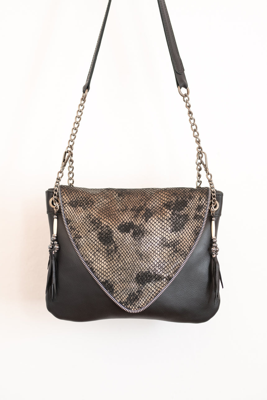 Our Medium Nicole Bag I - Handmade Silver and Grey Leather Handbag