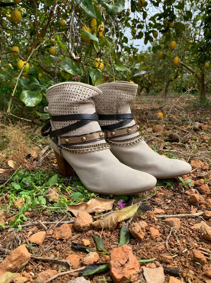 Leather boot and ankle jewelry in dark grey metallic with gold - thin width