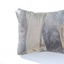 Metallic grey handmade leather pillow in elegant wave design Linda Ibiza
