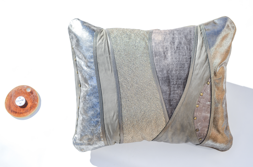 Metallic handmade leather pillow in elegant wave design Linda Ibiza