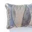 Metallic grey handmade leather pillow with elegant wave design Linda Ibiza