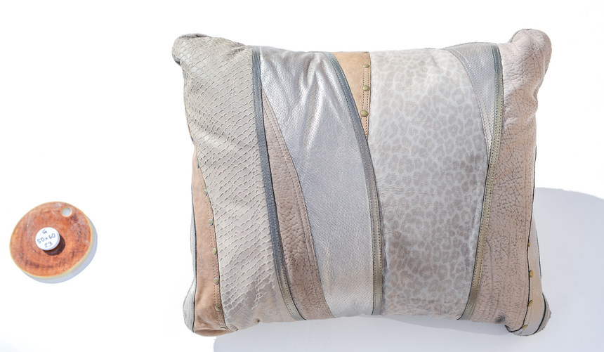 Metallic grey handmade leather pillow with leopard print design Linda Ibiza