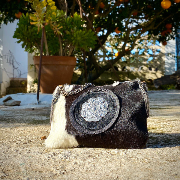 The Handmade Leather Cow Hide and Hair Crossbody Bag