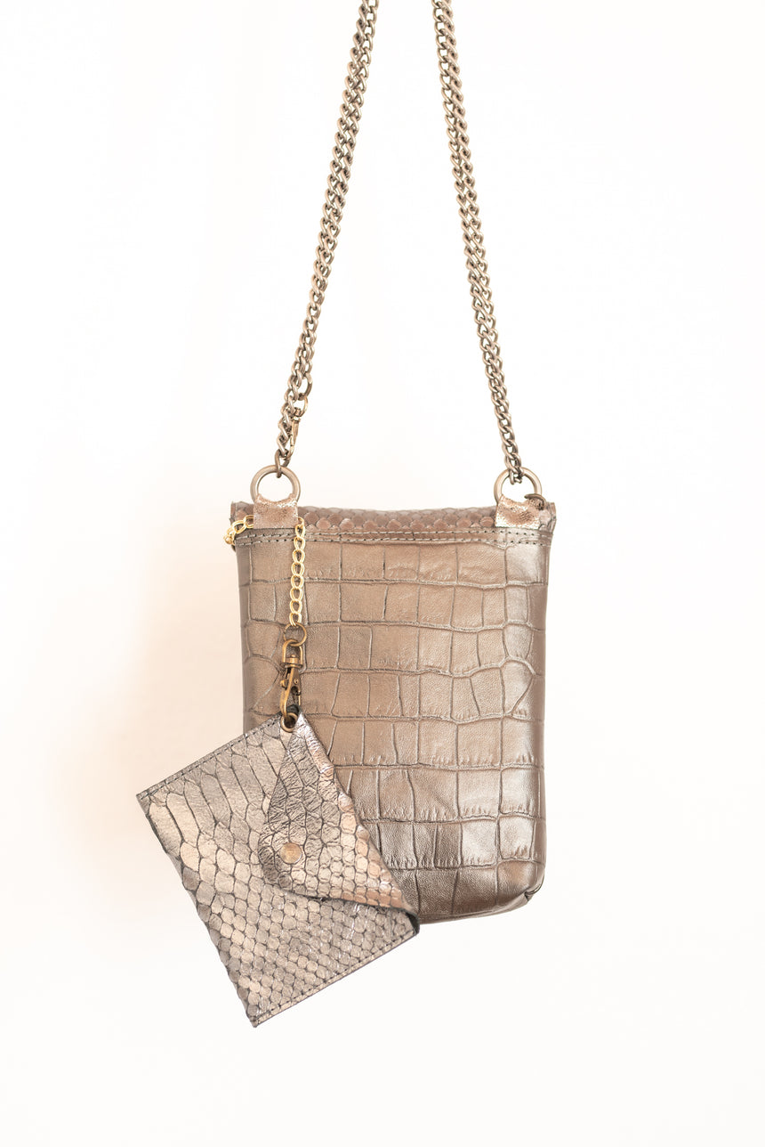 Handmade grey and silver metallic larger mobile bag Linda Ibiza