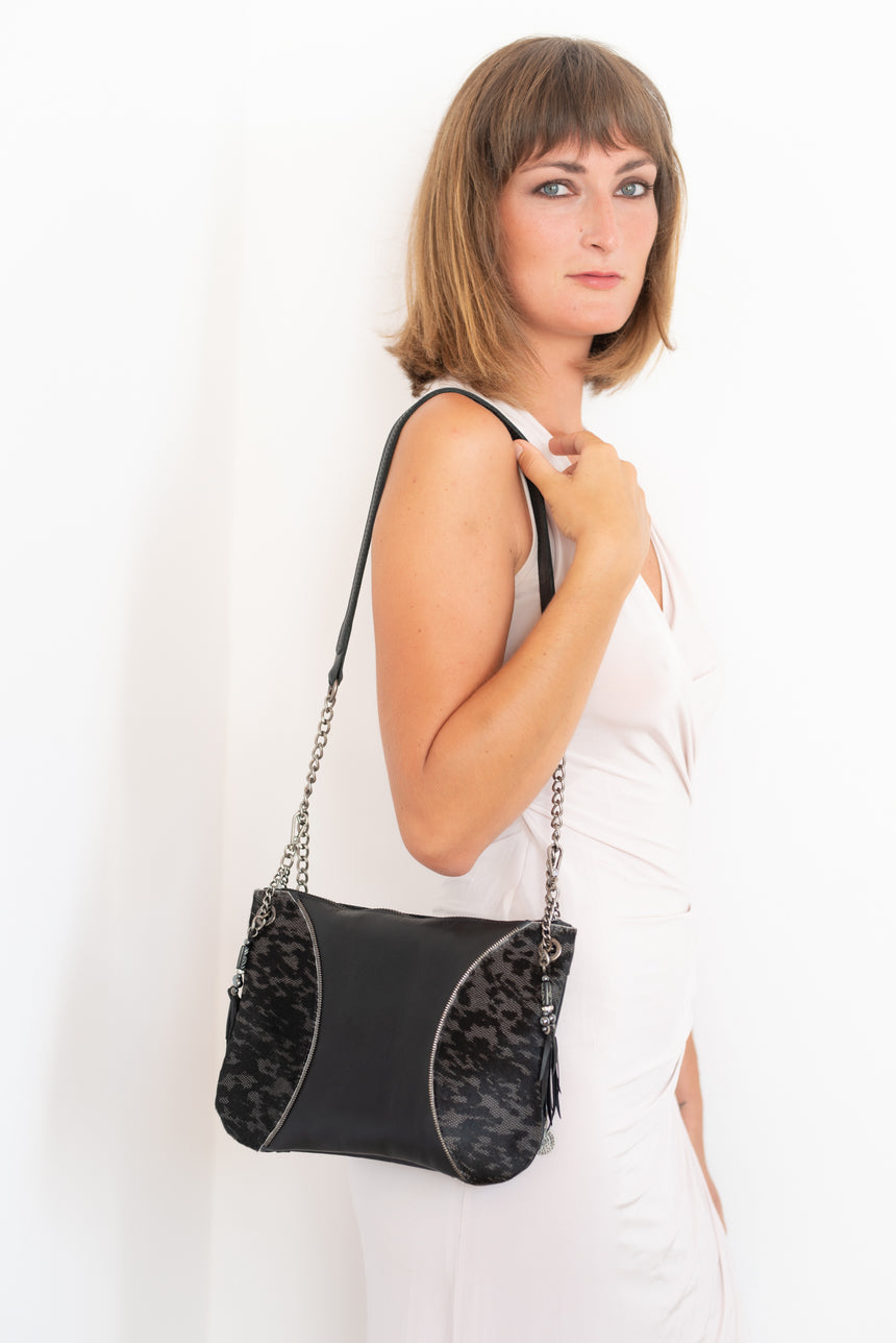 Handmade black and animal print leather Moon handbag Linda Ibiza