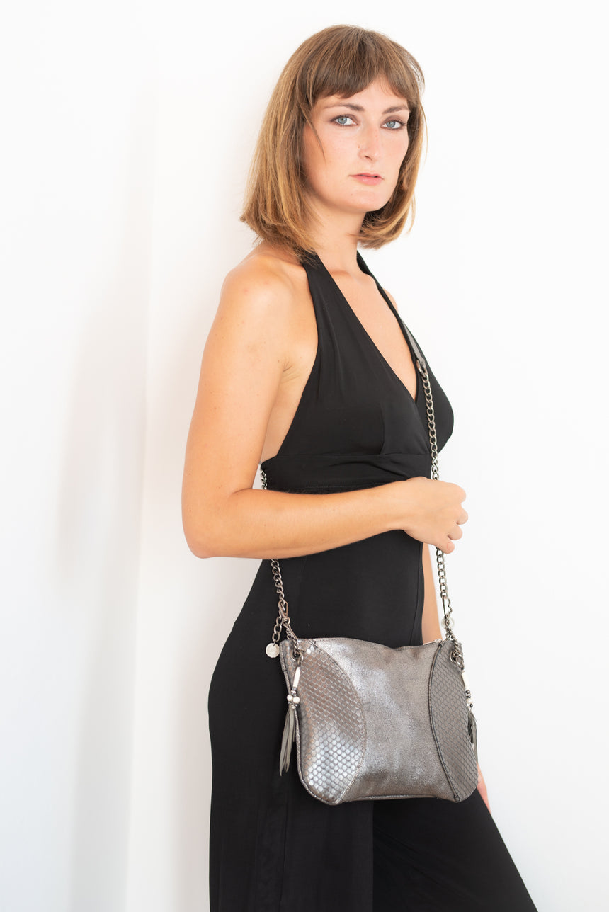 Handmade silver and grey metallic leather Moon handbag Linda Ibiza