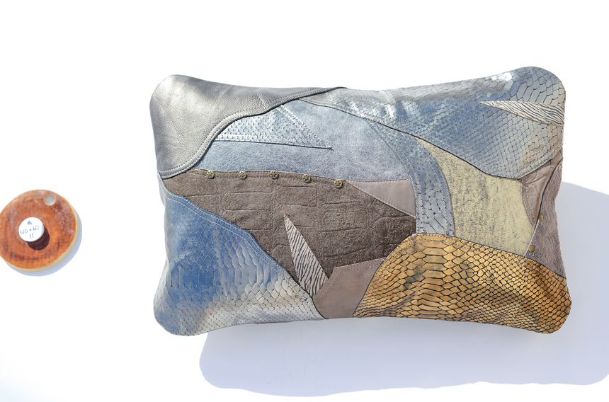 Metallic grey handmade leather pillow in patchwork design Linda Ibiza