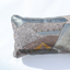 Metallic handmade leather pillow in patchwork design Linda Ibiza