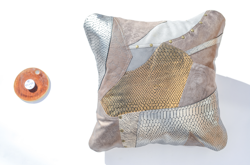 Metallic grey handmade leather pillows in patchwork design Linda Ibiza