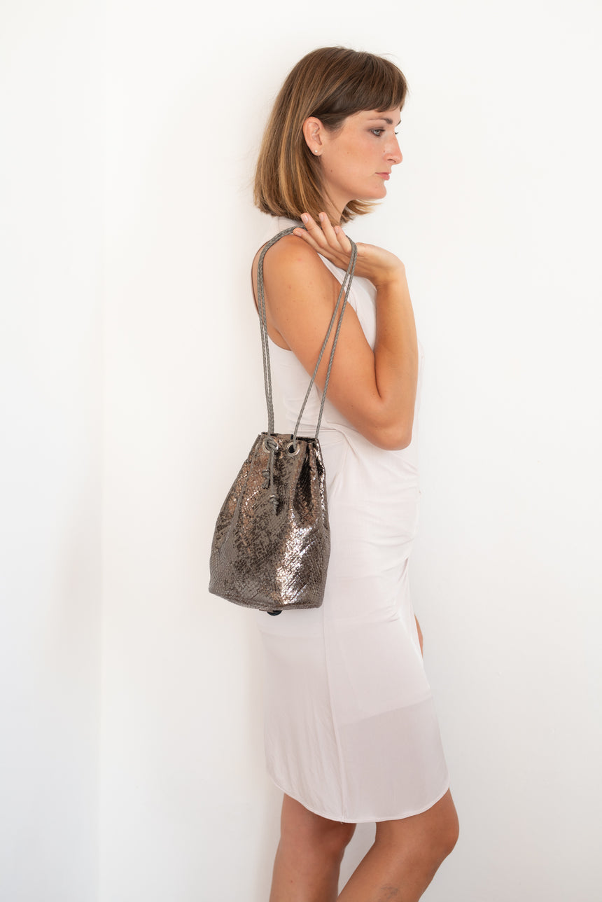 Silver disco ball leather backpack