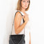 Handmade black leather V handbag Linda Ibiza