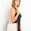 Handmade cream leather V handbag Linda Ibiza