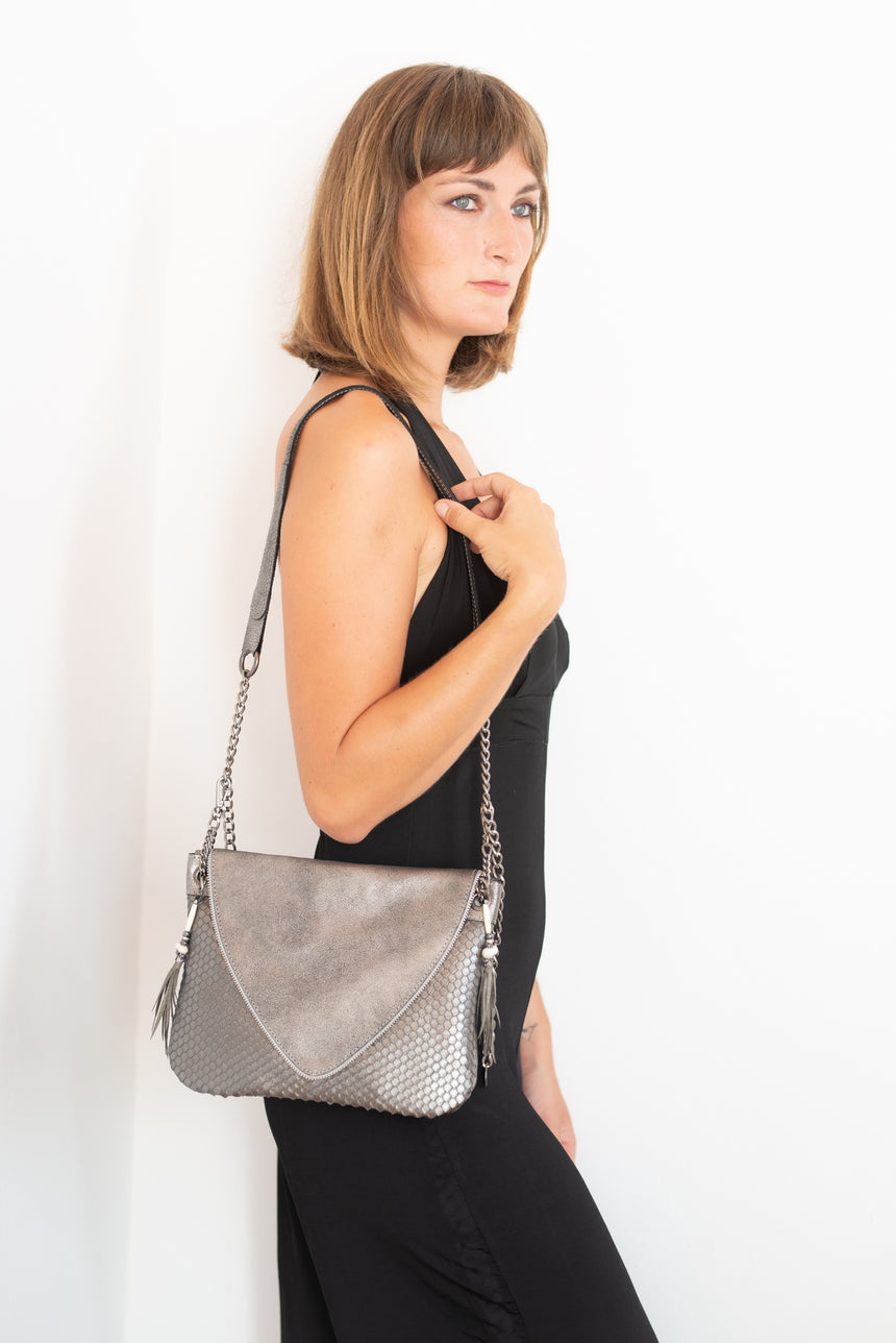 Handmade grey and silver leather V handbag Linda Ibiza