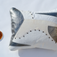 White and silver leather pillow - style 9, 50 x 60 cm