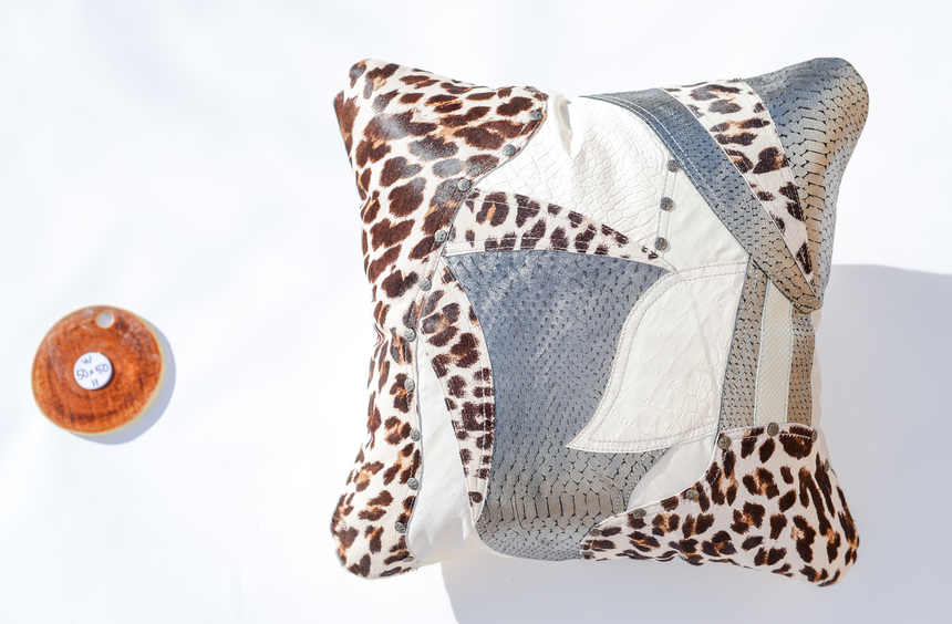 White, silver and leopard print leather pillow Linda Ibiza
