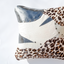 White, silver and leopard print leather pillow - style 16, 50 x 50 cm