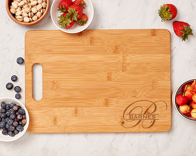 Laser engraved bamboo cutting board