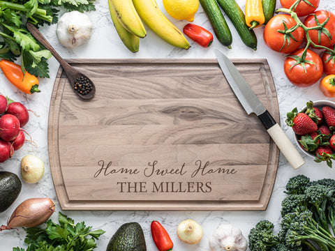 Walnut cutting board with home sweet home engraving